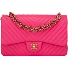 Pre-Owned Chanel Fuchsia Chevron Jumbo Classic Double Flap Bag