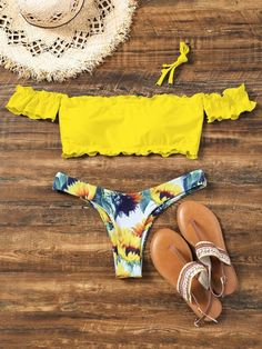 550afc6d0ec Sunflower Off Shoulder Lettuce Hem Bikini - Yellow Ebay Swimwear, Cute  Bathing Suits, Summer
