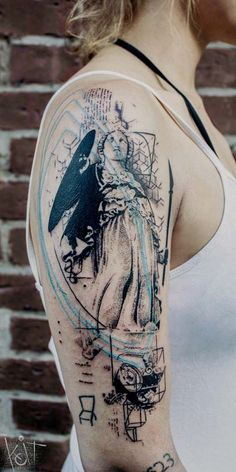 coolTop Geometric Tattoo - Koit Tattoo, Berlin. Lady justice graphic style arm tattoo with black and light ...