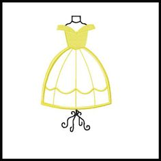 BELLE Dress Form embroidery applique fill design for quilts, clothing & more