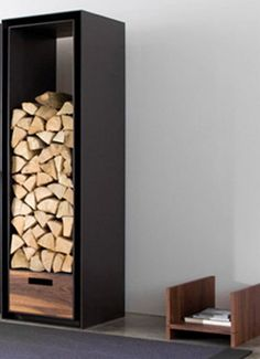 wood storage for fireplace material ideas Some Useful Tips to Help You Have the Perfect Firewood Storages Firewood Holder, Firewood Logs, Firewood Storage, Interior Design Living Room, Living Room Decor, Wood Store, Diy Fireplace, Home And Deco, Decoration