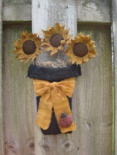 Primitive Sunflower Burlap Door Hanger by HomespunCreationsJDC