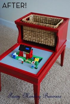 Mid-Century Side Table Turned LEGO Table should coulda saved the table at Log house!!!