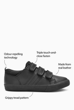 These triple strap leather shoes are a term time trend. Made from real leather, they feature three touch fastening straps so they can achieve ultimate comfort. Designed with a technically designed tread to keep their feet on the ground - plus they have been applied with a special treatment to repel the build up of odour. Upper - Leather, Textile, Lining & Sock - Textile, Sole - Other Materials. Black Shoes, All Black Sneakers, Loafer Shoes, Loafers, Real Leather, Black Leather, Shoes For School, Boy Shoes, Childrens Shoes