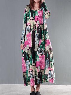#Valentines #AdoreWe #BerryLook - #berrylook Round Neck  Patch Pocket  Floral Printed Maxi Dress - AdoreWe.com