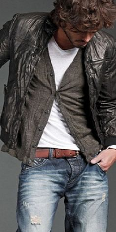 ripped jeans, t-shirt, belt, cardigan, light weight leather jacket with character ~O