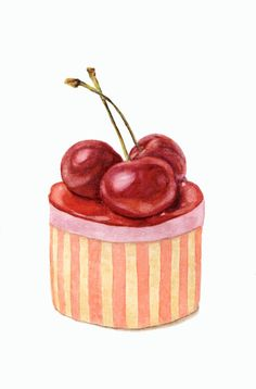 Cherry Cake By ForestSpiritArt Cupcake Drawing, Cupcake Art, Cupcakes, Sweet Cafe, Dessert Illustration, Watercolor Food, Cherry Cake, Mouth Watering Food, Painted Cakes