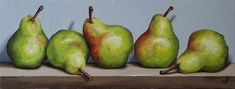 """5 Blush Williams Pears"" - Original Fine Art for Sale - © Jane Palmer"