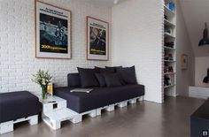 a very pallet apartment: beds, sofas, side table, tabletop | The Improvised Life