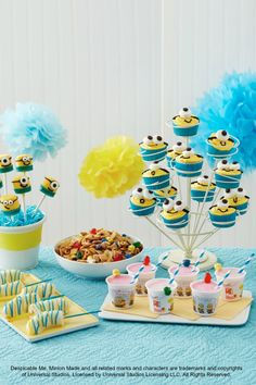 Get your Minion party started with Betty's clever ideas for Minion-shaped cheese sandwiches, Minion Munch Chex Party Mix, Chocolate-Dipped Bananas, as well as Minion cupcakes, party favors, crafts and more! Click through for the complete checklist and links to all the recipes and DIYs!