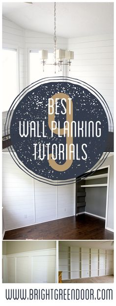 Nine Best Wall Planking Tutorials- These tutorials, tips, and tricks will help you plank your walls like a pro! Planked Walls, How to Plank Walls, Tongue and Groove Planking, Plywood Planked Walls. www.BrightGreenDoor.com