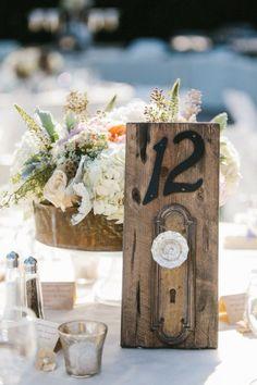 door knob rustic table number