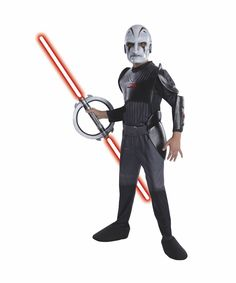 Deluxe Inquisitor This licensed Star Wars Rebels Deluxe Inquisitor child costume includes jumpsuit with attached armor and boot tops and mask. Does not include light saber.