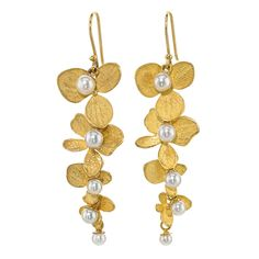 John Iversen Hydrangea Pearl Gold Drop Earrings | From a unique collection of vintage drop earrings at https://www.1stdibs.com/jewelry/earrings/drop-earrings/