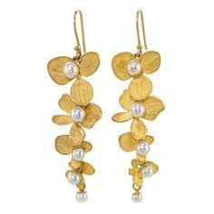 John Iversen Hydrangea Pearl Gold Drop Earrings | From a unique collection of vintage drop earrings at https://www.1stdibs.com/jewelry/earrings/drop-earrings/