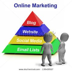 Online Marketing Pyramid Has Blogs Websites Social Media And Email Lists - stock photo
