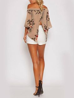 We are currently obsessing over this blouse. It adorned with floral print and off shoulder. Style it with mini skirts will be perfect. Casual Outfits, Summer Outfits, Cute Outfits, Plus Size Womens Clothing, Clothes For Women, Cheap Boutique Clothing, Summer Fashion Trends, Online Shopping Clothes, Online Clothes