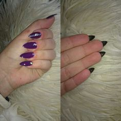 #simple #purple #black #stars my nails