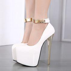 Women's White Ankle Strap Super Stiletto Heel Platform Stripper Heels (310 RON) ❤ liked on Polyvore featuring shoes, pumps, chaussure, stiletto shoes, platform shoes, sexy party shoes, sexy shoes and platform stilettos