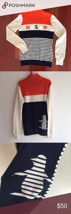 """[Munsingwear] cashmere Original penguin sweater Adorable 100% cashmere sweater by Munsingwear, the maker of Penguin. Very collegiate looking! The front has the letters M S W with penguins in between and another cute striped penguin in the back. The colors are navy blue, orange, and cream. Wear with leggings or SKINNIES this fall and winter  23"""" shoulder to h&m, 17"""" pit to pit Munsingwear Sweaters Cowl & Turtlenecks"""