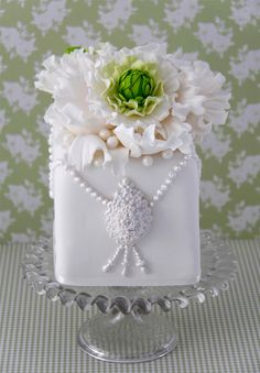 Jewel Cake Decorated With Jewels And Flower Made From Sugar