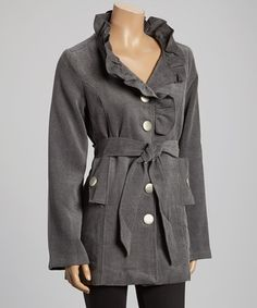 Look at this #zulilyfind! Gray Ruffle-Lapel Trench Coat - Women by Chaudry #zulilyfinds