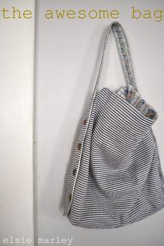 reversible adjustable bag #sew #sewing #diy #crafts #fabric #howto #tutorial #bag