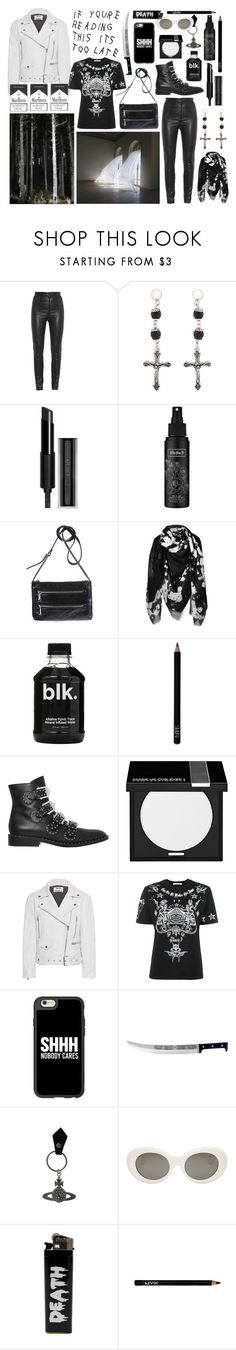 """""""I don't need yr help l wear black and white"""" by nothingisnormal ❤ liked on Polyvore featuring Givenchy, Kat Von D, HOBO, NARS Cosmetics, MAKE UP FOR EVER, Acne Studios, Casetify, Coltellerie Berti, Vivienne Westwood and NYX"""