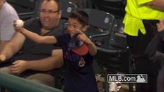 June 2015: Miguel Cabrera gives boy bat and batting gloves after Indians fan makes nice play on foul ball- Miggy saw the play and gave the boy - Dominic - some recognition - after the inning he gave him a bat and gloves.