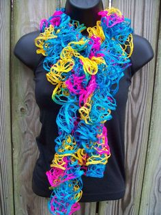 Turquoise Yellow Pink Hand Knit Ruffle Scarf by AnytimeAccessory, $29.99