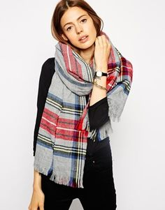 ASOS Scarf In Gray Plaid Check