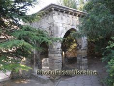 The ancient arbour. Beautiful medieval small building.  This photo was made by me in Feodosia, Crimea, Ukraine in july, 2010.  Size 2048 x 1536