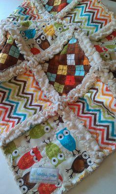 Rag Quilt Baby Boy Robert Kaufman Owls Urban by flutterflybaby, $22.00