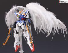GUNDAM GUY: MG 1/100 Wing Gundam Proto Zero w/ Real Feathers - Customized Build…
