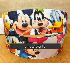 1 inch 25mm DISNEY Mickey Minnie & Friends Printed by Chica4Crafts