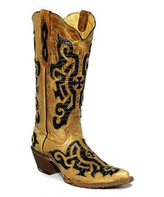Black & Yellow Barcelona Orix Leather Cowboy Boot #zulily #zulilyfinds