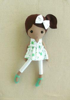 Fabric Doll Rag Doll Brown Haired Girl in Green от rovingovine