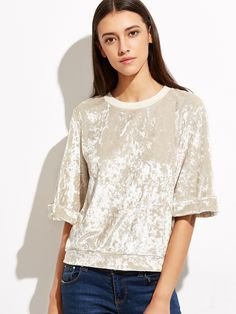 Apricot Crushed Velvet Top — 0.00 € -----------------------------color: Apricot size: L,M,S,XS