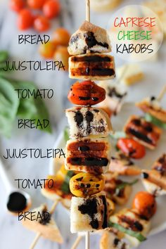 """Caprese Cheese Kabobs with Balsamic Reduction - The perfect summer grilling kabob using sweet, buttery juustoleipa """"bread cheese""""!"""