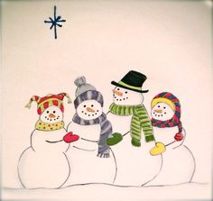 Snowman Family Family Plate Snowmen Plate door LornaHoodDesigns Christmas Dishes, All Things Christmas, Christmas Ornaments, Christmas Artwork, Christmas Drawing, Snowmen Pictures, Family Drawing, China Painting, Winter Art