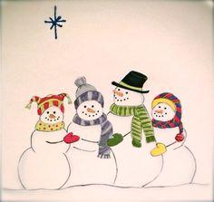 Snowman Family Family Plate Snowmen Plate door LornaHoodDesigns