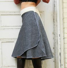 Organic Denim Wrap Skirt Hemp and Organic by VioletStarCreations, $65.00