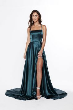 A&N Bianca - Teal Satin Gown with Front Slit and Lace up Back – A&N Luxe Label Source by vellunamari dresses gowns All Black Prom Dresses, Winter Formal Dresses, Cute Prom Dresses, Grad Dresses, Ball Dresses, Satin Dresses, Pretty Dresses, Strapless Dress Formal, Dresses Dresses