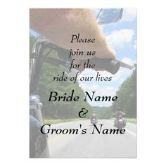 Motorcycle Biker Riding Funny Wedding Invitation