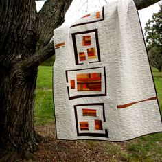 Modern Quilt, Southwestern Quilt, Art Quilt, Modern Bedding, Abstract Quilt, Orange, Gold, Brown