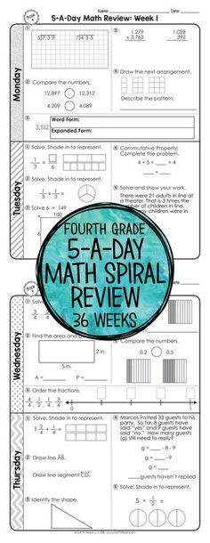 3rd Grade Math Spiral Review | 3rd Grade Math Homework or 3rd Grade ...