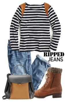 """""""Style Trend: Ripped Jeans"""" by inyene105 ❤ liked on Polyvore featuring J.Crew, Charlotte Russe, Nina Ricci and rippedjeans"""