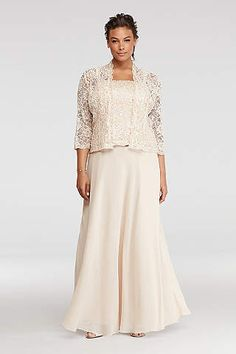 Mock Three Piece Dress with Sequin Lace Jacket - Davids Bridal Mother Of The Bride Trouser Suits, Mother Of The Bride Jackets, Mother Of The Bride Plus Size, Mother Of The Bride Dresses Long, Mothers Dresses, Mob Dresses, Cheap Dresses, Dresses With Sleeves, Discount Dresses