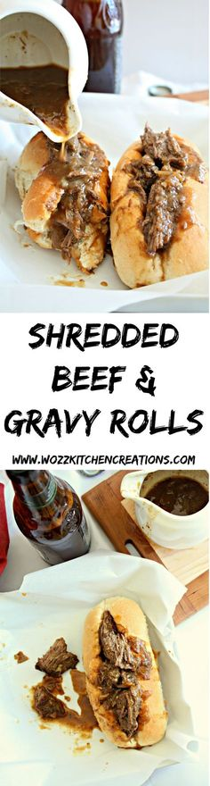 Shredded Beef & Gravy Rolls. Beef simmered in gravy until it shreds with a fork. Spooned into soft rolls. Perfect cold weather #superbowl food.