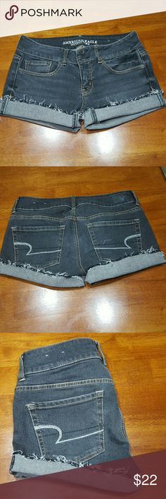 "American Eagle Outfitters Shorts Size 4 Beautiful pair of American Eagle hand distressed at the bottom, charcoal color size 4  inseam 3"". Like new condition light wash blackish. American Eagle Outfitters Shorts"